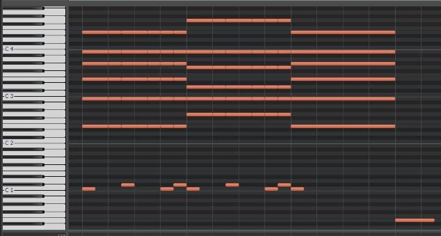 コード弾きのピアノロール