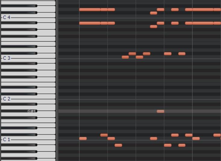 カッティングのピアノロール