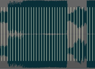 Audiosnapをオンにすると表示される縦線(トランジェントマーカー)